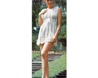 INSTANT DOWNLOAD PDF Vintage Crochet Pattern   Lace Goddess Mini Dress Tunic Retro Plus Free Pattern