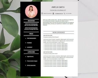 Resume Template and Cover Letter + References Template for Word   DIY Printable 4 Pages   Professional & Creative Design