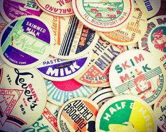 10pcs VINTAGE MILK CAPS Various Colorful Cardboard Paper Ephemera