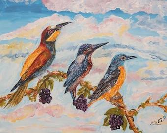 Birds painting, acrylic painting, freedom, original painting,birds,parrot,wildelife