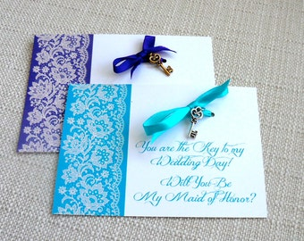 Will You Be My Maid of Honor, Matron of Honor Personalized Wedding Gift Charm Card