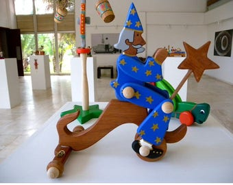 Colorful magician made of wood Ideal for children
