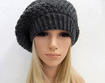 Knit Hat Slouchy Beret Beanie Handmade...Charcoal Gray....  (Ready to Ship)