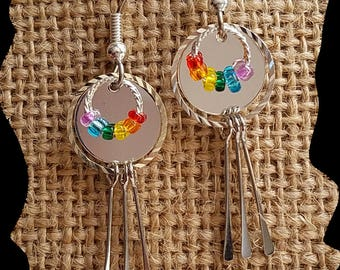 Earrings, mirrors, chakra drop earrings, gift ideas, accessories, jewelry, rainbow,, hand made , dangles. silver, glass beads jewelry,