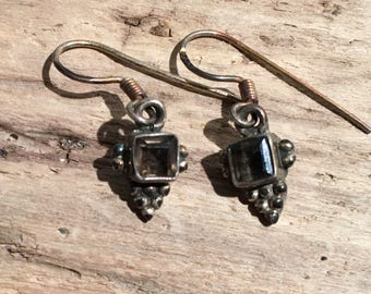 Smokey Quartz Earring,Smokey Topaz Stone-Hand cut Stone-Vintage earring,Vintage Shop-Ethnic-Hippy-Gypsy-Shop...