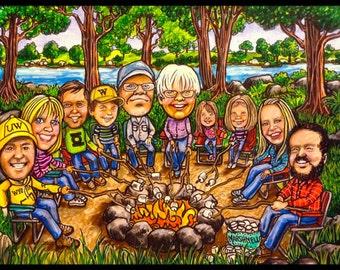 Custom CARICATURE,  Family caricature, CAMPING caricature, family portrait, portrait caricature, portrait cartoon, child portrait,