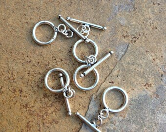 Toggle Clasps, sterling silver, 5 clasps, 13 mm