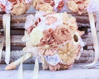 wedding bouquet, fabric flowers bridal bouquet, bridesmaids bouquets, blush posy