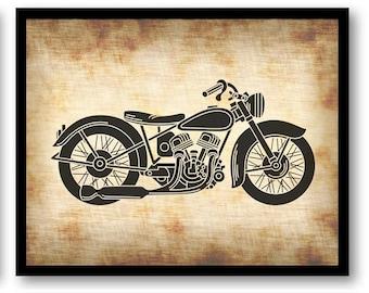 Moto parchemin Style noir imprimable impression instantanée télécharger Wall Art déco Style Vintage animaux Nature