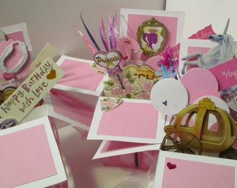 Handmade Birthday Princess Pop Up Exploding Box Card for Young Girl-only 2 left--Free S&H in USA