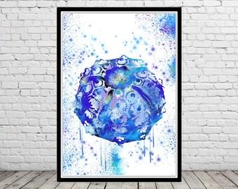 Sea Urchin, Ocean art, sea life, room decor, nursery art, watercolor sea urchin, sea urchin print, ocean print, home decor, sea art (4035b)