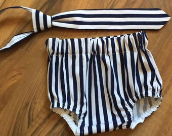 Necktie, Diaper Cover Set Navy & White Striped Photography Prop, Dressy Baby Boy