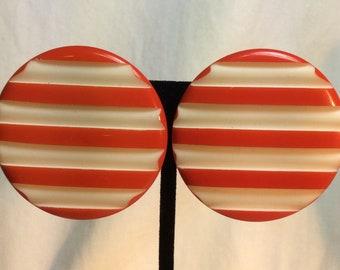 Large Orange And White Earrings. Vintage Earrings
