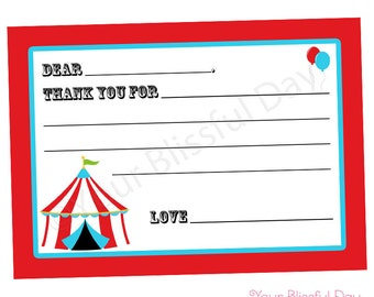 PRINTABLE Circus/Carnival Fill-in-the-Blank Thank You Cards #517
