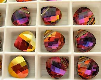 4 Crystal Volcano Swarovski Crystal Pendants Briolette 6012 11mm