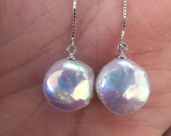 Classic coin pearl silver threader earrings