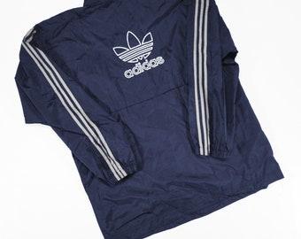 Rare Vintage des années 90 Adidas Trefoil coupe-vent 1/2 zip pull veste