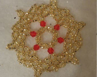 Gold Beaded Snowflake Ornament