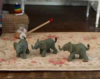 Micro Mini Elephants, Set of 12 by Miniature Corner, Plastic Elephants, Crafting, Favors, Toppers, Gifts, Embellishments