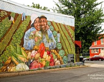 A Celebration of Community, Philadelphia Mural Photograph, Mural Arts Program, Color Photography, Friendship, Farm, Harvest, Art Print