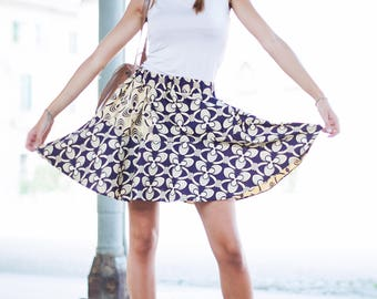 S-M circle skirt, skirt with folds, above the knee skirt, elastic waist, made in Italy, OOAK, african fabric