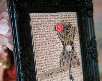 Shabby Cottage Chic Framed Art..German Book Page Embellished Vintage Dress Form Black Ornate Frame..ooak..Gift Idea Handmade & READY TO SHIP