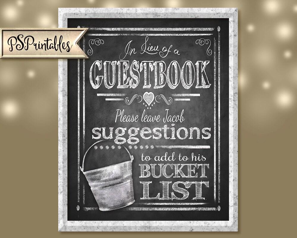 Wedding BUCKET LIST Guestbook Sign In Lieu Of