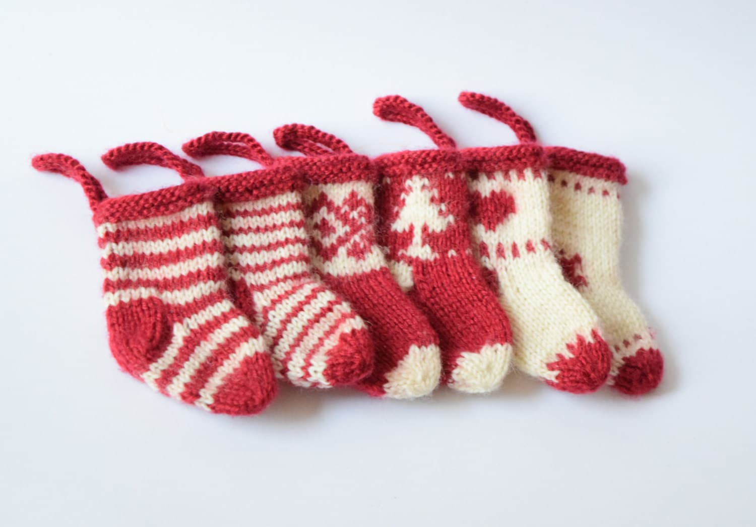 Knit mini Christmas stocking/ SET OF 6 small miniature