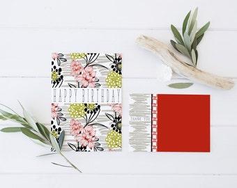 flower digital card, modern digital card, tropical digital card, invitation card print, digital note cards, instant download, 5x7 card