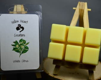 White Citrus Scented Soy Wax Melts, Lemon, Grapefruit, Ginger, Waterlily