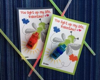 You Light Up My Life - Instant Download - Valentine's Day Digital Printable -  Digital Valentines - Kids Valentines - Glow Stick Valentine