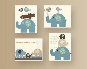 Baby Room Decor, Nursery Room art, Baby Elephant, Nursery wall decor, Blue Brown Teal, Baby room decor, Baby Boy room art, Elephant theme,