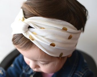 Turban Headband, Gold Polka Dots, Baby Headband, Headwrap, Baby Turban, Twist Headband, Baby Shower Gift, Adult Headband, Boho Headband