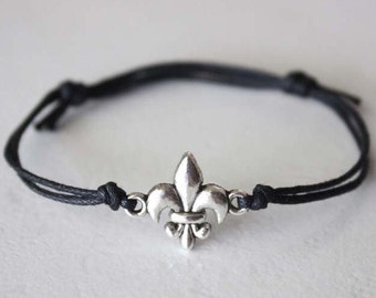Fleur De Lis Bracelet or Anklet in Silver, New Orleans Jewelry, NOLA Jewelry, Louisiana, Paris, France Jewelry, BFF, Best Friend Gift