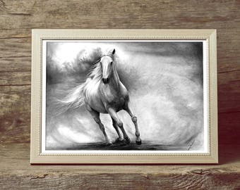 Horse Drawing Art PRINT, GICLEE PRINT, Horse Pencil Drawing Poster, Galopping Horse Illustration, Photorealistic Horse Art, Gift for Riders