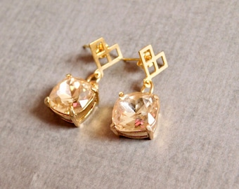 Champagne Glass Earrings: Gold Modern Faceted