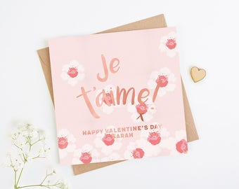 Valentine's Day Card Je T'aime Personalised Rose Gold