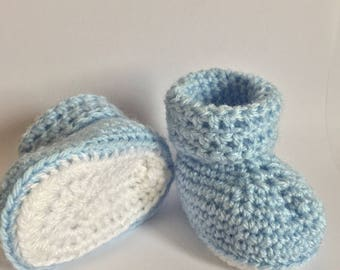 Baby crochet boy or girl booties, baby shoes