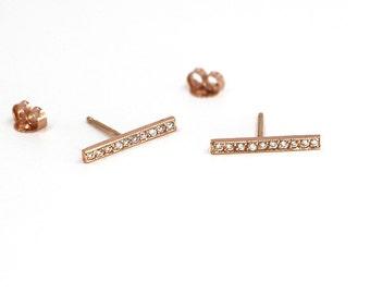 14K Solid Gold Bar Diamond  Earring Bar Earring Gold Diamond Line Earring Minimalist Gold Bar Stud