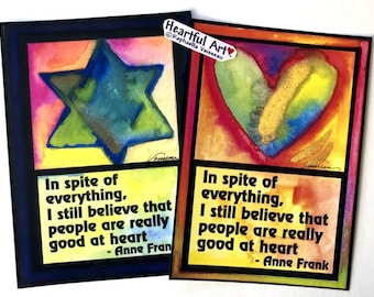 In Spite Of Everything 5x7 Anne Frank Inspirational Poster Postitive Thinking Judaica Motivational Print Heartful Art by Raphaella Vaisseau