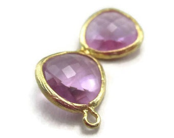 2 Lavender Glass 13mm Teardrops with Gold Bezel Frame, Earring Drops Light Purple