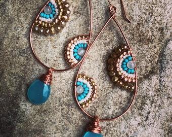 Aqua chalcedony decorative hoops