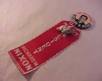 Richard M Nixon Political Campaign Button with Ribbon and Charm