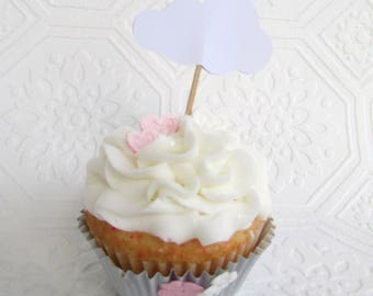 Cloud Cupcake Toppers,  White Cloud Party Picks, Baby Shower, Birthday Party Decoration