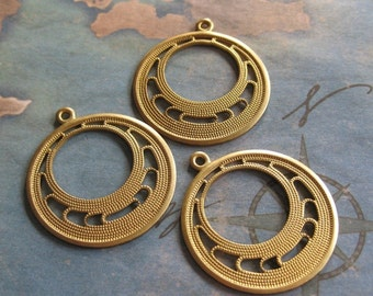 4 PC Brass Stamping Art Deco Hoop Finding - Q0273