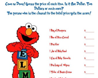 Elmo: Guess That Price Baby Shower Game