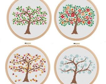 Instant Download Set of 4 Season Tree Cross Stitch Spring Summer Autumn Winter Tree Cross Stitch Pattern season cross stitch Flower
