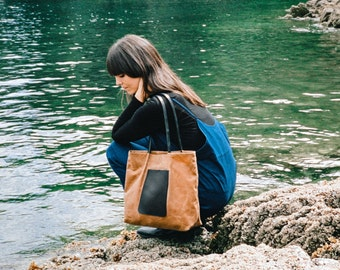 One the Go Tote | Rust | Waxed Canvas Tote | Market Bag | Carryall | Canvas Bag