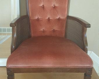 Vintage Velvet Chair, Maroon Chair, Chair, Vintage, Cane Chair, Walnut Maroon Cane Chair, Vintage Living Room, Home Decor,Vintage Cane Chair