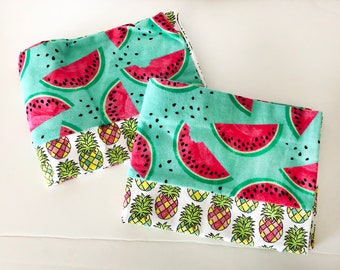 Cute Pineapple and Watermelon Print Flannel Pillowcases. Pillowcase Set. Standard Pillow Cases. Pillowcases For All Ages